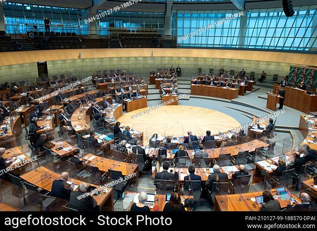 27 January 2021, North Rhine-Westphalia, Duesseldorf: Armin Laschet (CDU), Minister President of North Rhine-Westphalia, speaks in the plenary session of the...