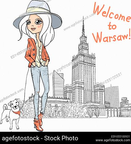 Fashionable hipster girl tourist in boots and hat with cute dog in Warsaw