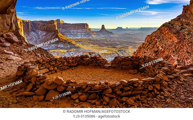 View from the inside of the False Kiva, Canyonlands National Park Moab Utah United States