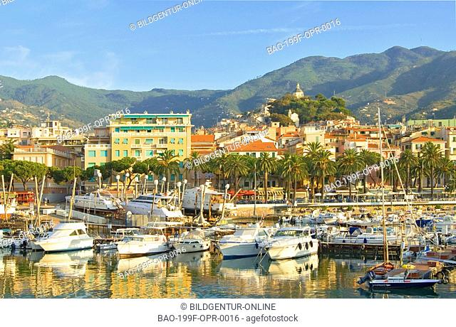 View over the harbor of San Remo at the Ligurian Coast, North West Italy