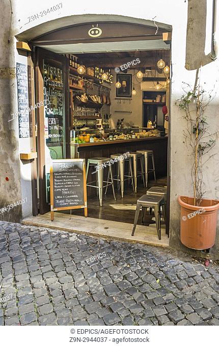 roman sandwich bar in the historic city center, rome, lazio, italy