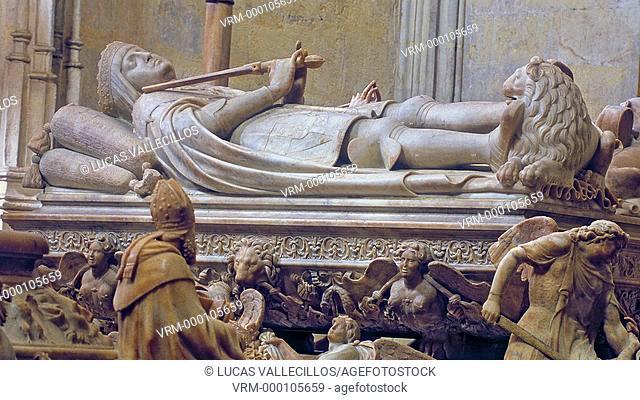 royal mausoleum.Tomb of Juana `la loca' y Felipe `el Hermoso'.Detail of Felipe. By Domenico Fancelli. In Royal Chapel of the cathedral.16th century