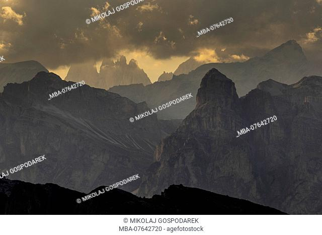 Europe, Italy, Alps, Dolomites, Mountains, View from Rifugio Nuvolau