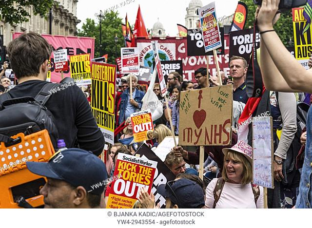 Sit-in protestors in front of 10 Downing Street, Not One Day More - Tories Out National Demonstration, an Anti-Government and Teresa May protest organised by an...