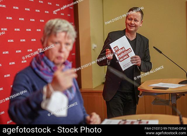 12 March 2021, Berlin: Katina Schubert, Berlin state chairwoman of Die Linke party, and Klaus Lederer (Die Linke), Senator for Culture and designated top...