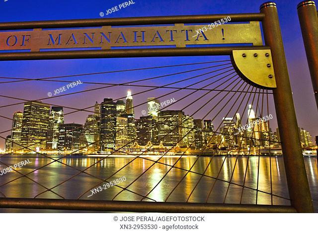 Manhattan skyline on background from the Brooklyn promenade, East River, Brooklyn, New York City, New York, USA
