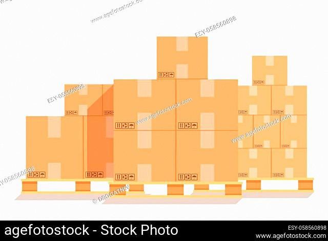 Cardboard boxes on a wood pallet. Different Boxes on warehouse stack front view. Boxes on wooden pallet vector illustration. Packaging cargo