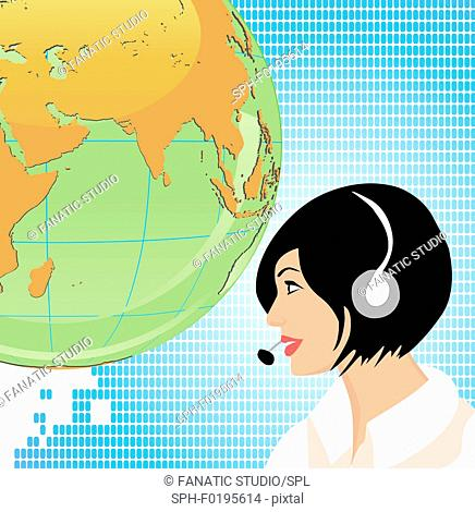 Indian customer service representative, illustration
