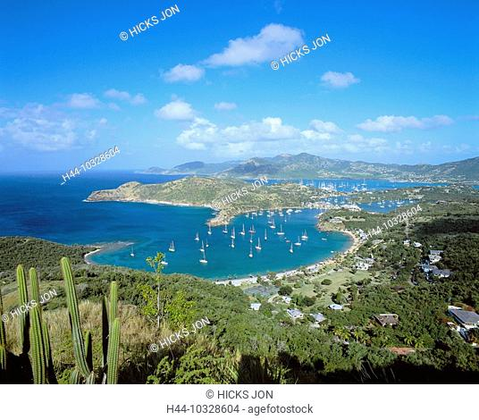 10328604 English Harbour, overview, bays, sail boats, houses, homes, hills, view, from Shirley Heights, Caribbean