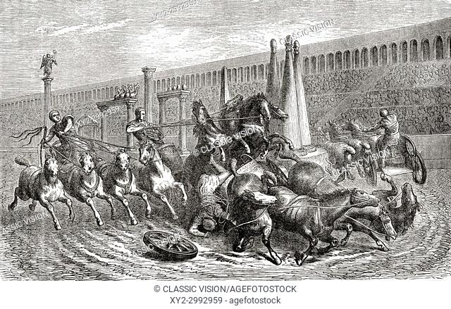 Ancient Rome. A chariot race in the circus. From Ward and Lock's Illustrated History of the World, published c. 1882