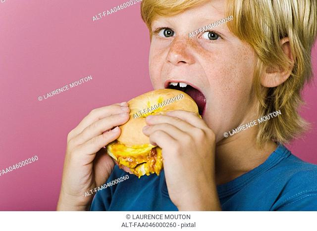 Boy eating ham and cheese sandwich