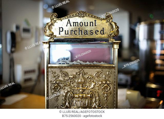 Close up of an old cash register machine with texts, Amount Purchased, in a bar in Nice, Provence-Alpes-Côte Azur, France, Europe