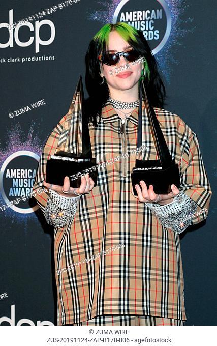 November 24, 2019, Los Angeles, CA, USA: LOS ANGELES - NOV 24: Billie Eilish at the 47th American Music Awards - Press Room at Microsoft Theater on November 24