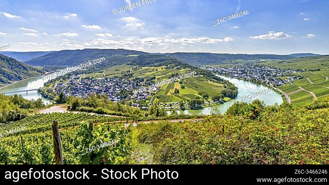 panorama of a bend of the Moselle river around village Wolf, Germany, view from mountain ridge near Mont Royal