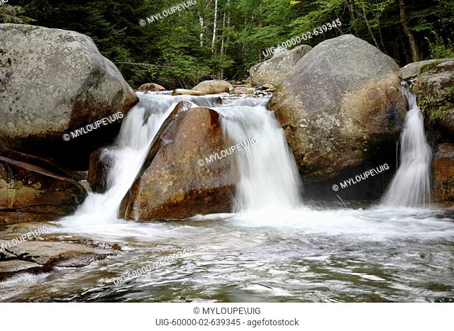Jefferson Brook during the summer months in the White Mountains, New Hampshire USA which is part of scenic New England.... Notes.