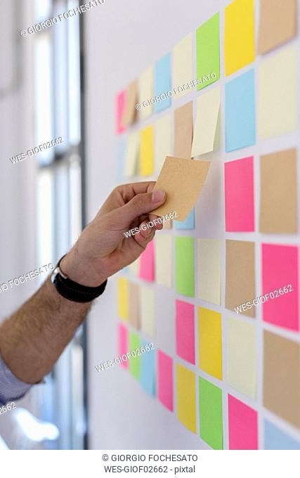 Hand taking adhesive note from wall in office
