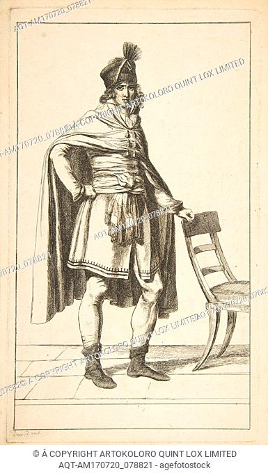 Civil Garb of the French Citizen, 1794, Etching, image: 12 1/8 x 7 1/16 in. (30.8 x 18 cm), Prints, After Jacques Louis David (French
