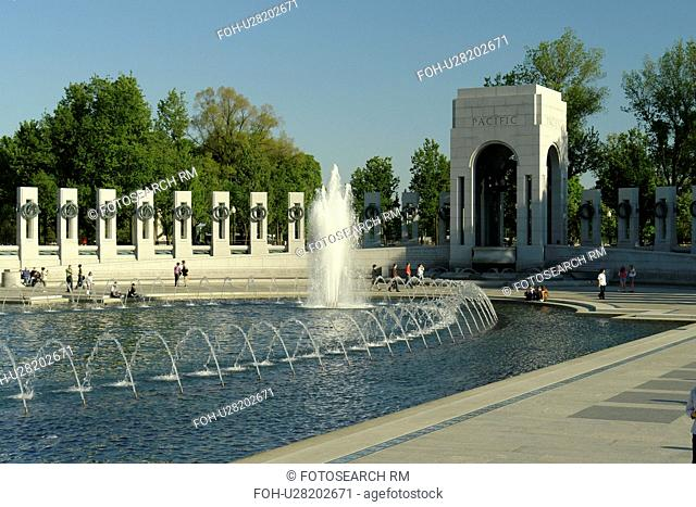Washington DC, D.C District of Columbia, World War II Memorial, Memorial Pillars, Pacific Pavilion, Fountain, National Mall, Memorial Parks, Nation's Capital