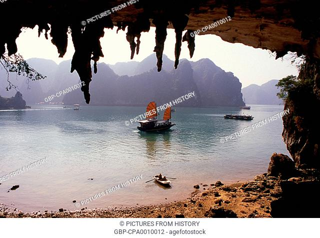 Vietnam: A junk seen from Hang Bo Nau cave, Halong Bay, Quang Ninh Province