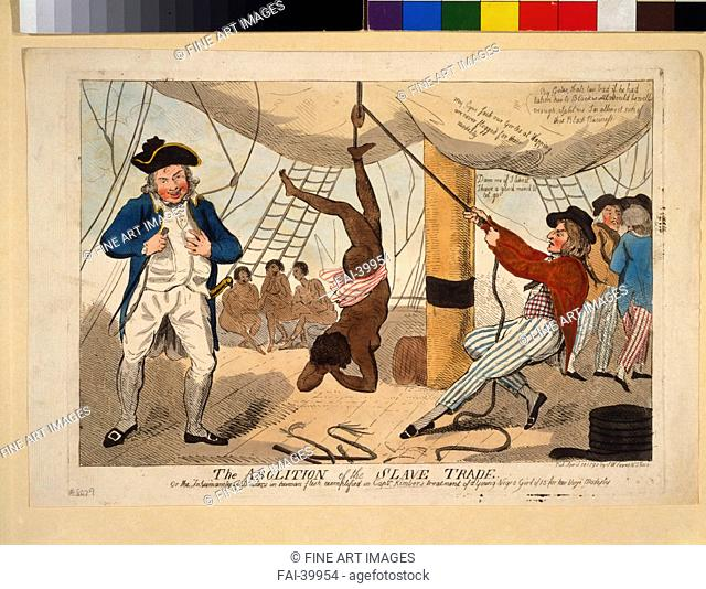 The Abolition of the Slave Trade, Or the inhumanity of dealers in human flesh exemplified in Captn. Kimber's treatment of a youn by Cruikshank