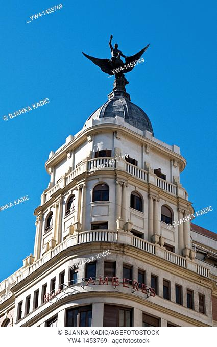 Hostel Amberes, monumental building on Gran Via, Madrid, Spain
