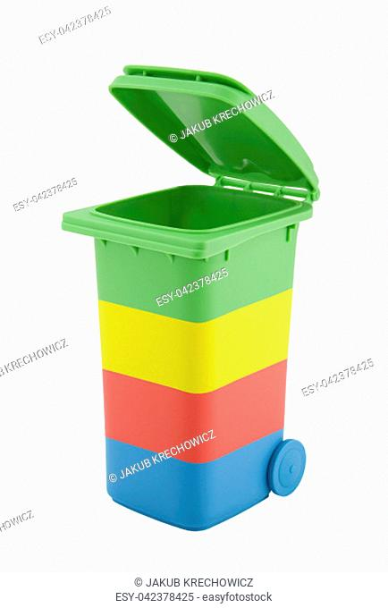 Colorful recycle bin isolated on white background with clipping path