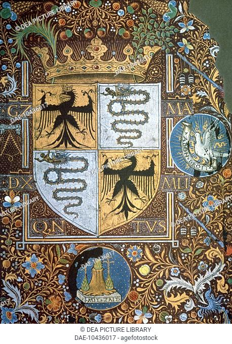 Galeazzo Maria Sforza's coat of arms, miniature. Heraldry, Italy, 15th century.  Vienna, Österreichische Nationalbibliothek (Library)