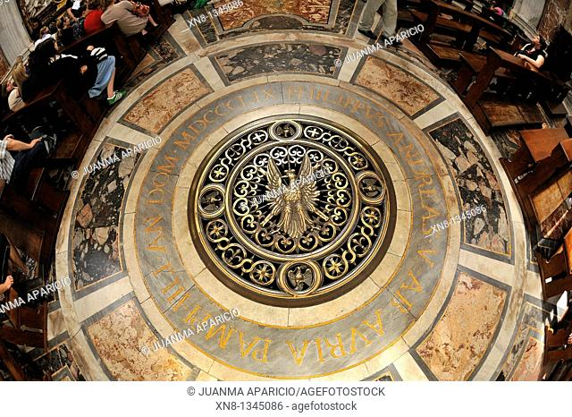 Interior detail of the church Sant'Agnese in Agone in the Piazza Navona, Rome, Italy, made with fish-eye