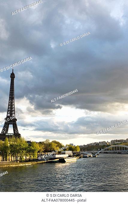 Eiffel Tower viewed from Seine River, Paris, France