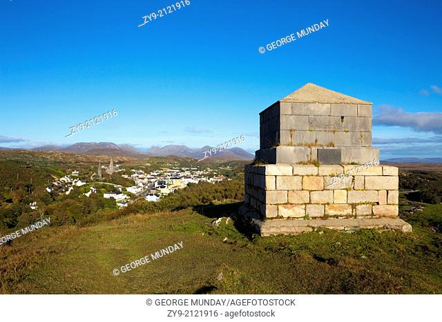 Memorial to Clifden's Founder, John D'Arcy, Clifden Town with the Distant 12 Pins Mountains, Connemara, County Galway, Ireland