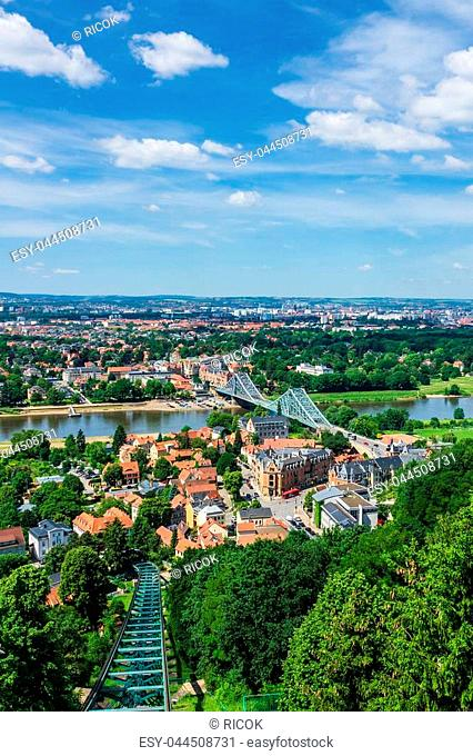 View over the river Elbe to Dresden, Germany