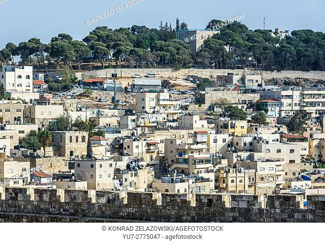 apartment houses on the hills of Silwan neighborhood on the outskirts of the Old City of Jerusalem, Israel. View with House of Abraham