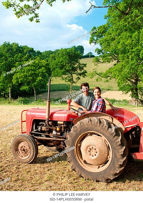 couple by tractor
