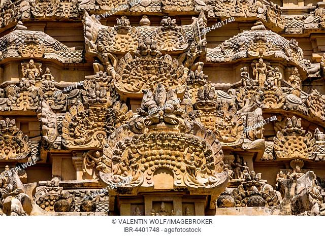 Decorated facade of Brihadeshwara temple at historical site Gangaikonda Cholapuram, Ariyalur, Tamil Nadu, India