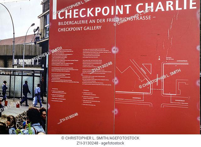 Billboards at the Checkpoint Charlie Museum in Berlin, Germany