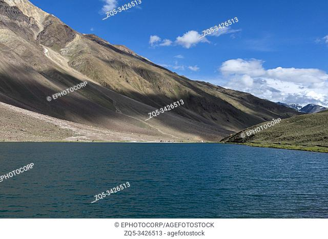 Chandra Taal, or Chandra Tal on a clear Day, Spiti Valley, Himachal Pradesh, India