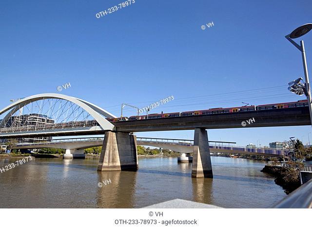 Merivale Bridge, a double track railway bridge, opened on 18 November 1978, crossing the Brisbane River, Brisbane, Queensland, Australia