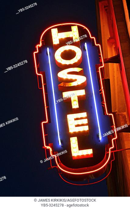 A neon sign for a hostel in Venice Beach
