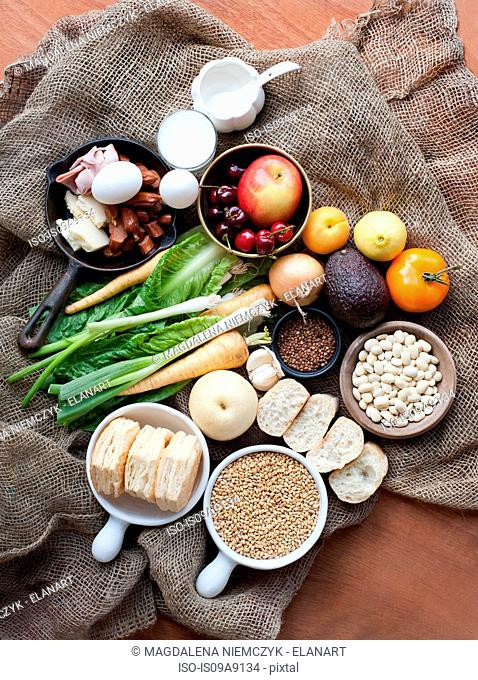 Still life of fresh foods on hessian sack