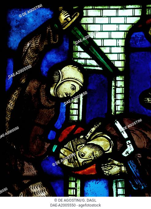 The Martyrdom of St Nicasius being decapitated by a Vandal, scene from History of St Nicasius and his sister St Eutropia, 1210-1220, stained-glass