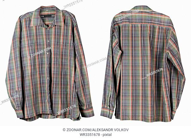 The usual old man's checkered shirt hangs in the closet. Isolated on white studio set