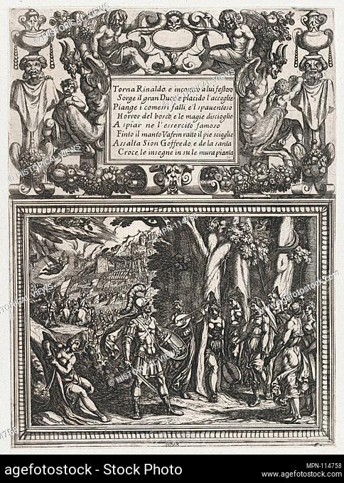 Plate 18: Illustration to Canto XVIII, from Torquato Tasso's 'Gerusalemme liberata III'. Artist: Antonio Tempesta (Italian, Florence 1555-1630 Rome); Date: ca