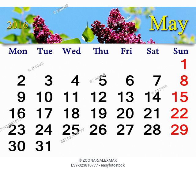 calendar for May of 2016 with flowers of lilac