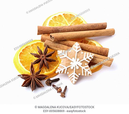 Gingerbread cookie and spices for Christmas baking on white background