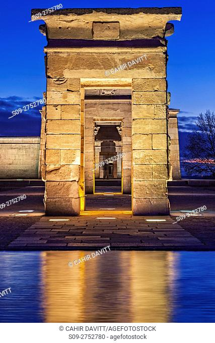The reconstructed Egyptian Temple of Debod at twilight, located in the Parque del Oeste, near the Royal Palace of Madrid, Madrid, Comunidad de Madrid, Spain