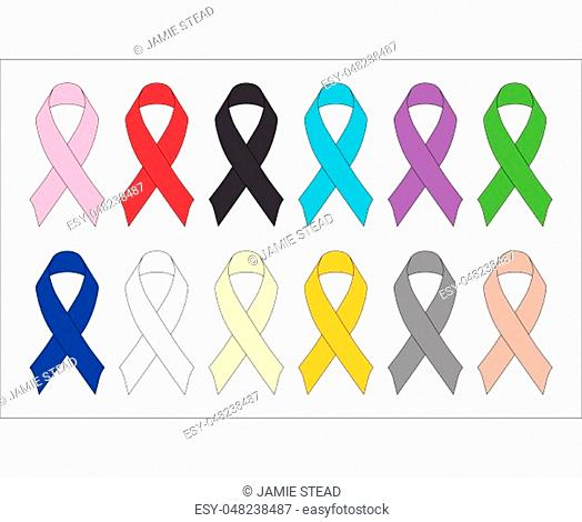 An array of awareness ribbons suitable for most causes