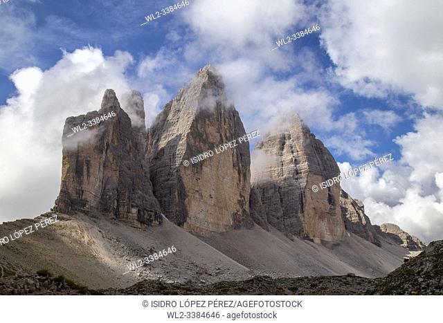 The Three Summits of Lavaredo, are three distinctive peaks in the form of battlements located in the Italian regions of Trentino-Alto Adige and Veneto