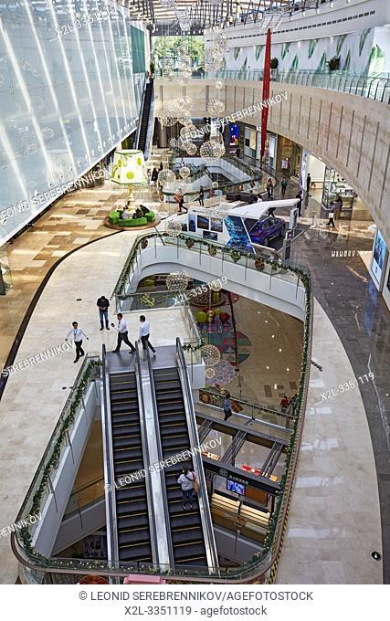 Interior of the Wongtee Plaza shopping mall. Shenzhen, Guangdong Province, China