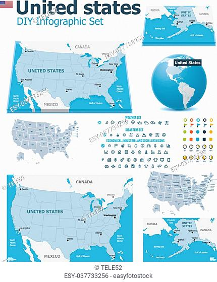 Set of the political USA maps, markers and symbols for infographic