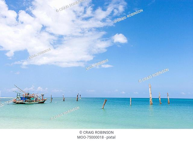 Fishing boat in calm ocean, Koh Pha Ngan, Thailand